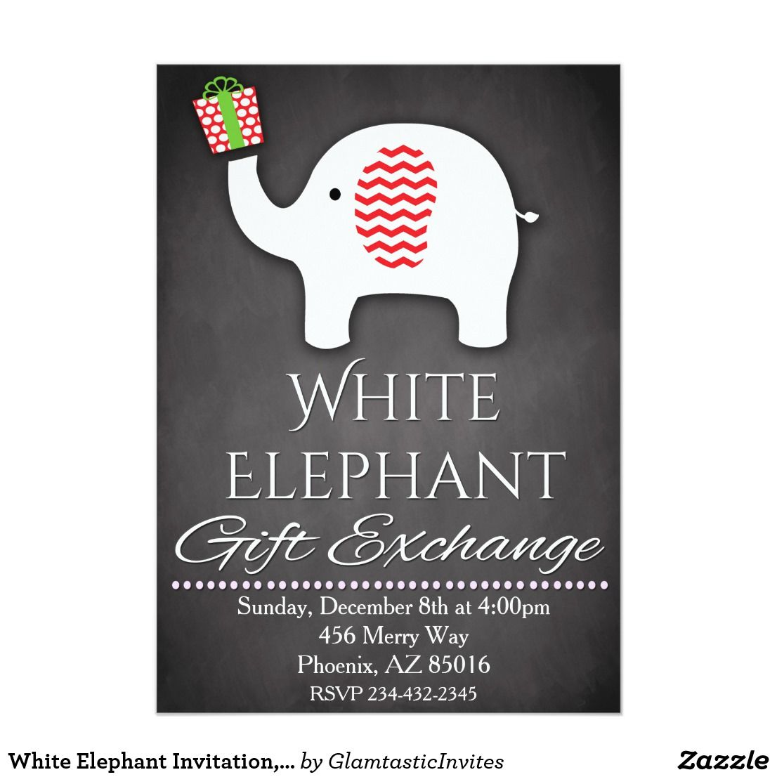 White Elephant Invitation, Gift Exchange Invite   White elephant ...