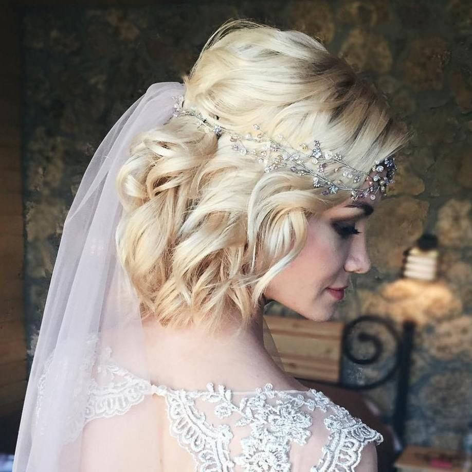 curly blonde bob bridal hairstyle | bridal hairstyle in 2019