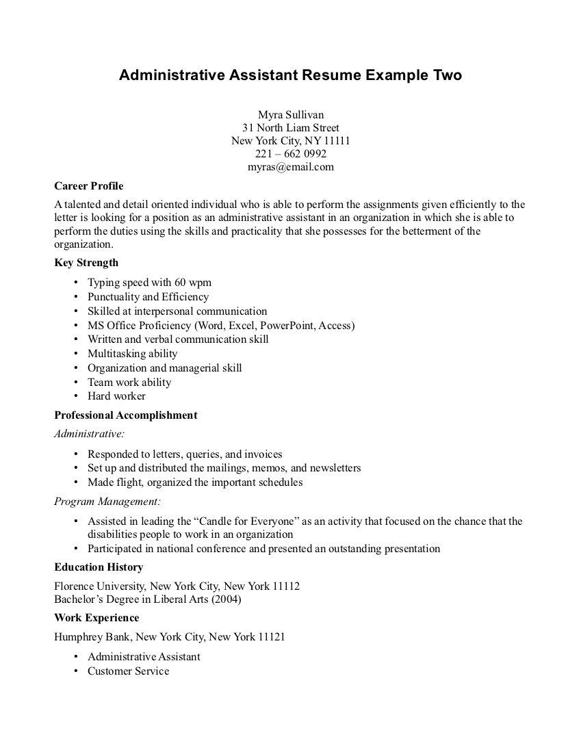 Executive Assistant Resume Samples Entry Level Administrative Assistant Resume Sample Best Business