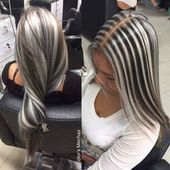 Super Hair Color Silver Brown Gray Highlights Ideas #platinumblondehighlights