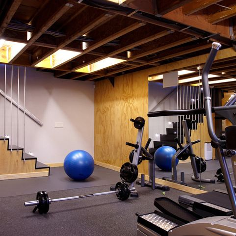 Unfinished basement design ideas exposed ceiling workout room