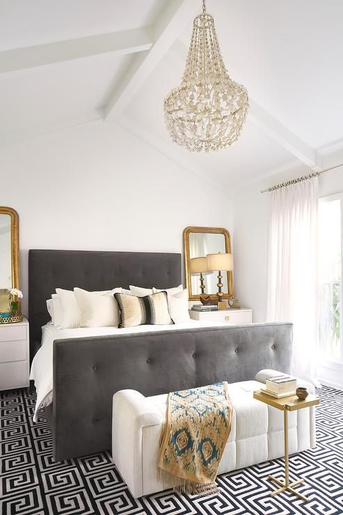 A Creamy And Grey Bedroom Is Glammed Up With Brass Touches White Gold Bedroom Gold Bedroom Decor Grey And Gold Bedroom