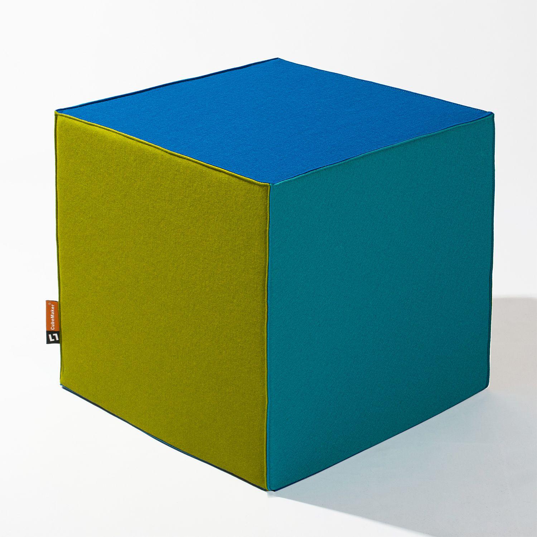 Filzwürfel CUBE TRI - COLOR ! #furniture #home #homedecor #design #sitzwuerfel #moebel #cube #interior #sitting #modern #green #blue #türkis #felt