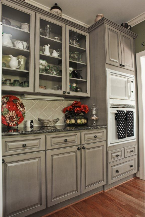wonderful black kitchen cabinets dark granite | Beautiful! Gray cabinets to compliment the black ...