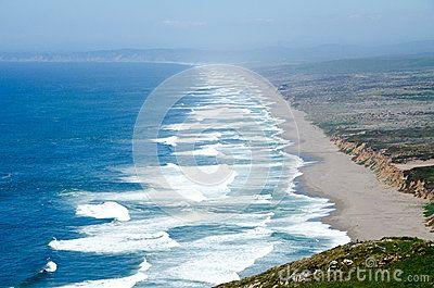 Waves along beach near coastal Point Reyes in northern California.