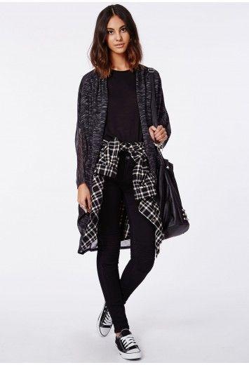 Missguided - Blyth Pleat Shoulder Cardigan Black Marl #MISSGUIDEDAW14 #MISSGUIDED