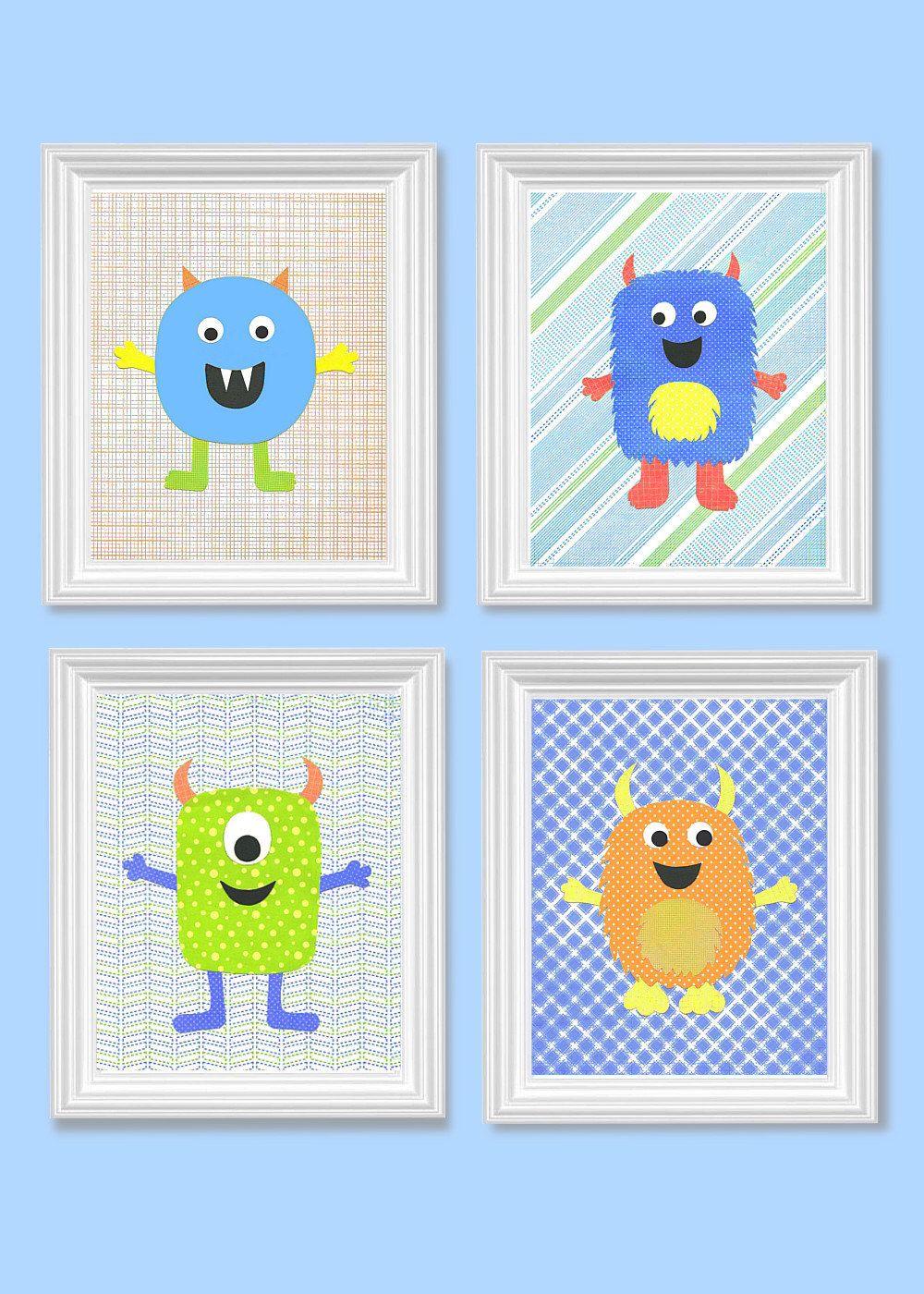Monster Nursery Art Boy Decor Cute Monsters Baby