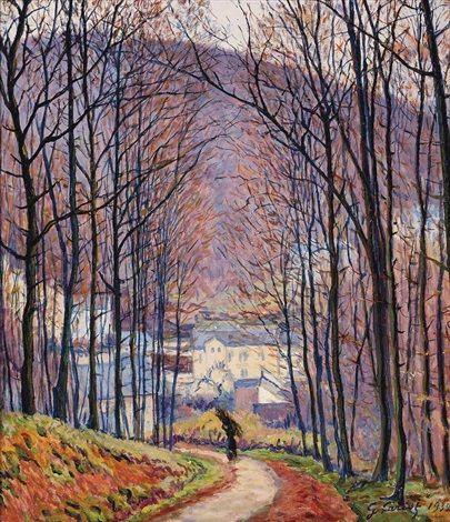 Chemin et sous-bois by Gustave Camille Gaston Cariot
