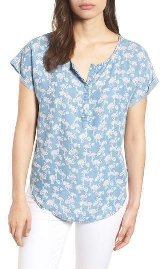 1edbeab5c2b BILLY T Flamingo Lace-Up Back Popover Top