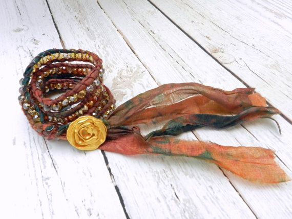 Sari Silk Fabric Wrap Bracelet Upcycled Jewelry Tie by ALBINAROSE