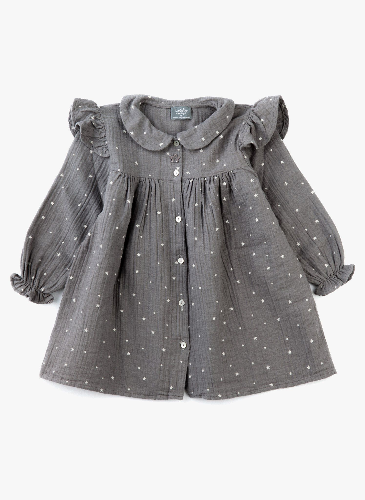 1afd2eec6 Tocoto Vintage Baby  Little Girl Star Dress in Grey - FINAL