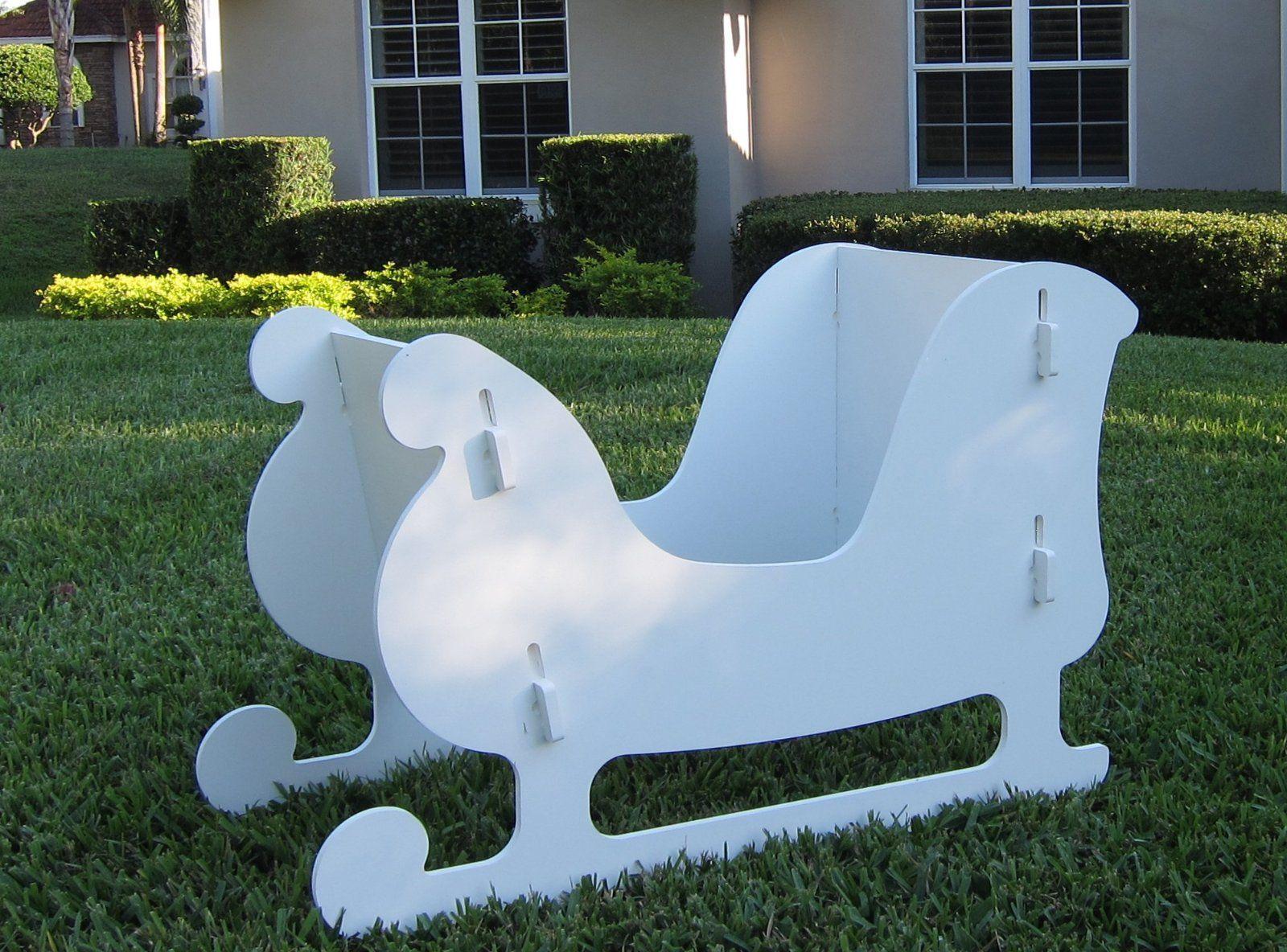 Christmas outdoor santa sleigh and 2 reindeer set amazon for Christmas deer lawn decorations