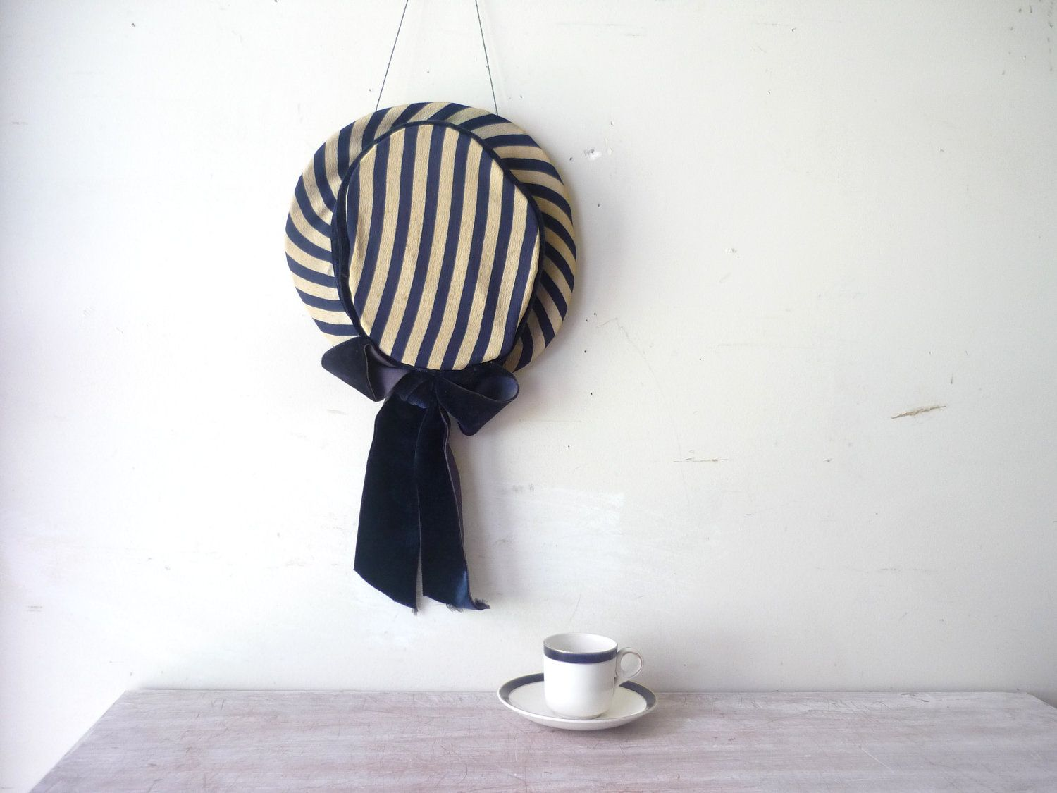 Vintage Navy Blue and Cream Striped Hat with Navy Blue Bow - Millinery Decor. $18.00, via Etsy.