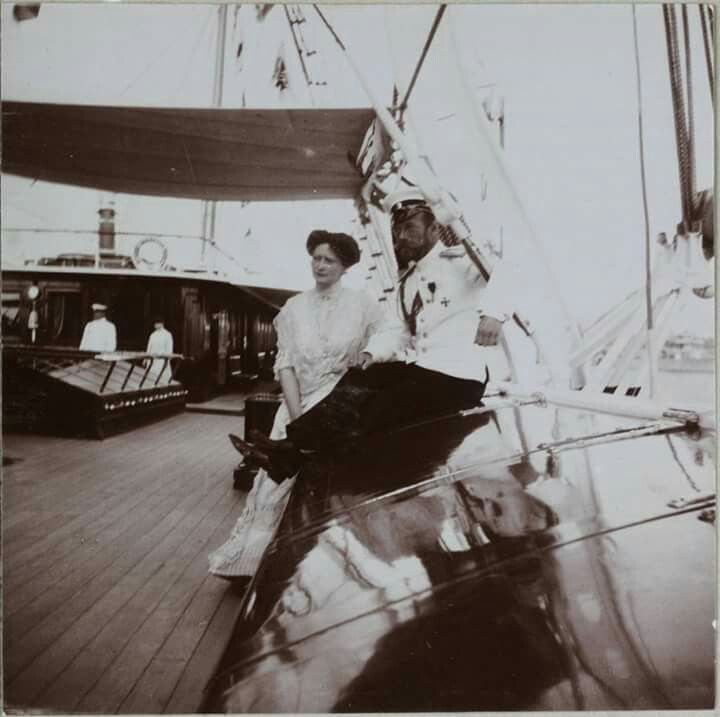 """Tsar Nicholas ll of Russia with Empress Alexandra Feodorovna of Russia on board the Imperial Royal yacht,the Standart. """"AL"""""""