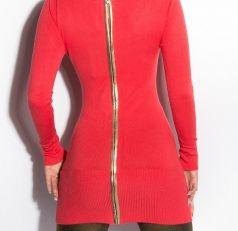 Stunning Long Sleeve Jumper Dress Full back Gold Zip Coral