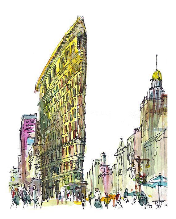 New York Sketch Flatiron Building New York City Archival Print
