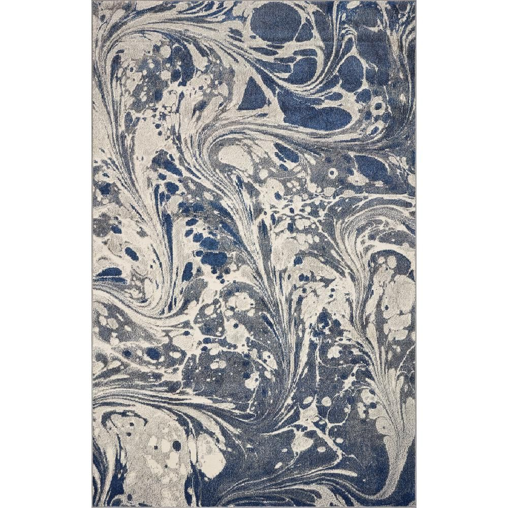 Watercolors Grey Marble 5 Ft X 8 Ft Area Rug Grey Blue Ivory