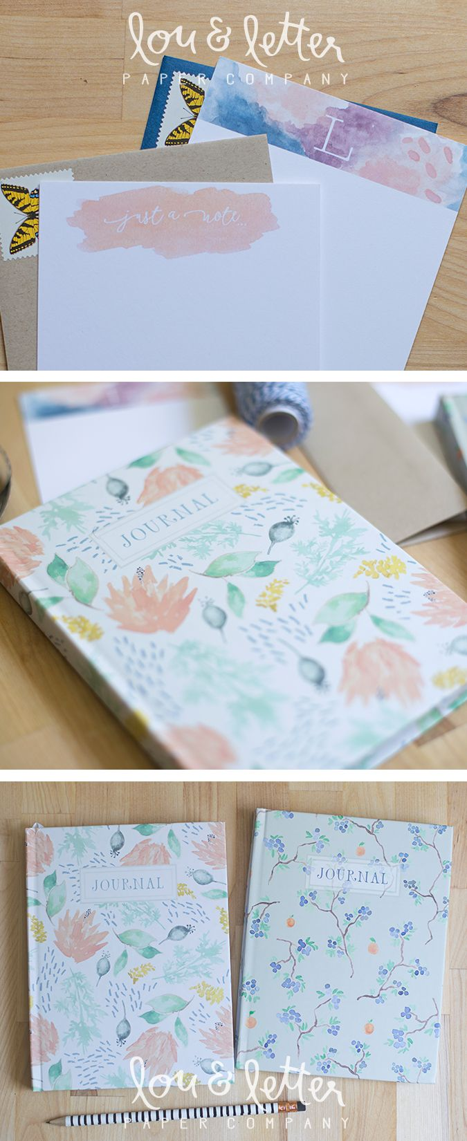 journals and stationery in floral and watercolor designs // Lou & Letter Paper Co.