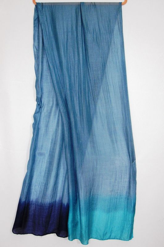 dip-dyed scarf, cotton and silk