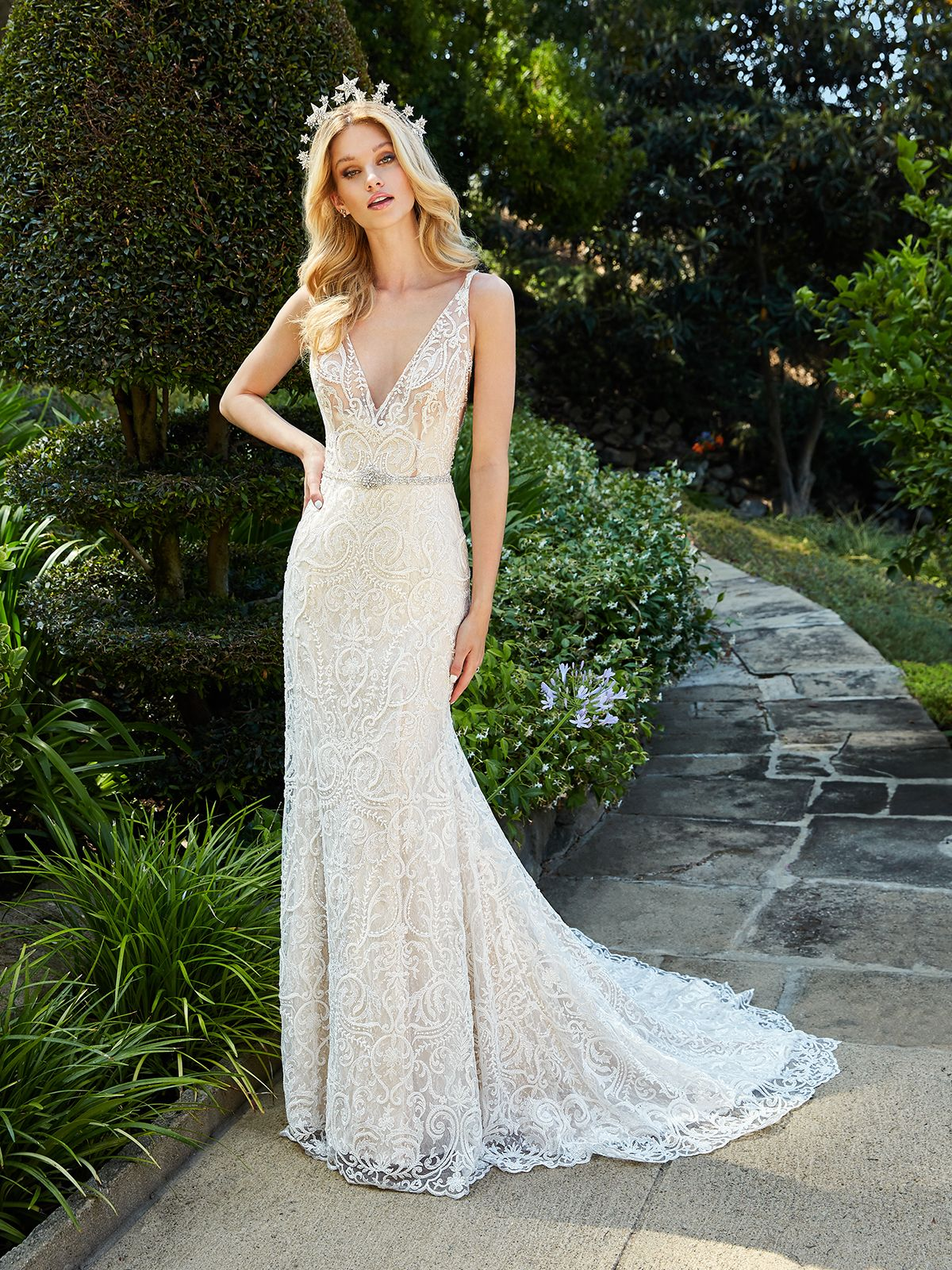 Lacy V Neck Francesca Style D8188 From Val Stefani Wedding Dresses Beaded Wedding Gowns Sparkly Wedding Gowns [ 1600 x 1200 Pixel ]