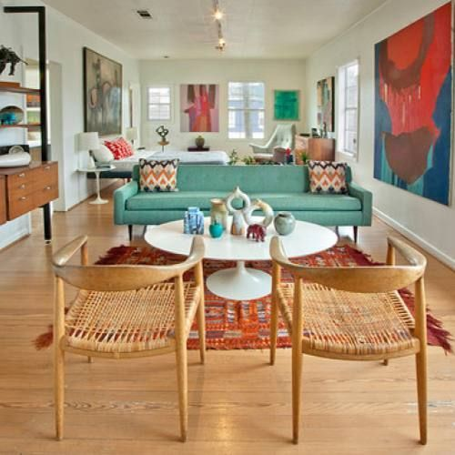 51 Luxury Living Rooms And Tips You Could Use From Them: Room Redo: Mid-century Modern Colorful Living Room By