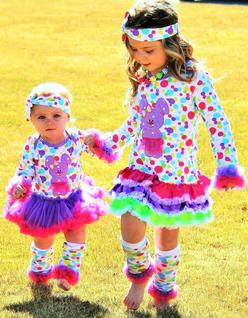 Rainbow Polka Dot Bunny Dresses #new