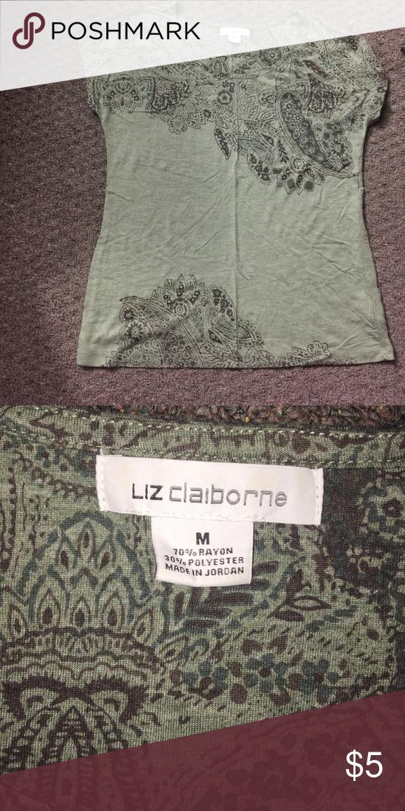Liz Claiborne shirt Green shirt with black print. Barley worn and it's a Medium. Liz Claiborne Tops Tees - Short Sleeve