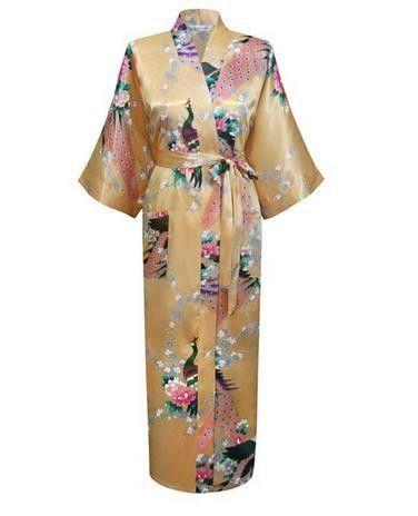 Plus Size XXXL Women s Silk Satin Robes Sexy Long Bathrobe Vintage Kimono  Three Quarter Night Gown Floral 820e76937
