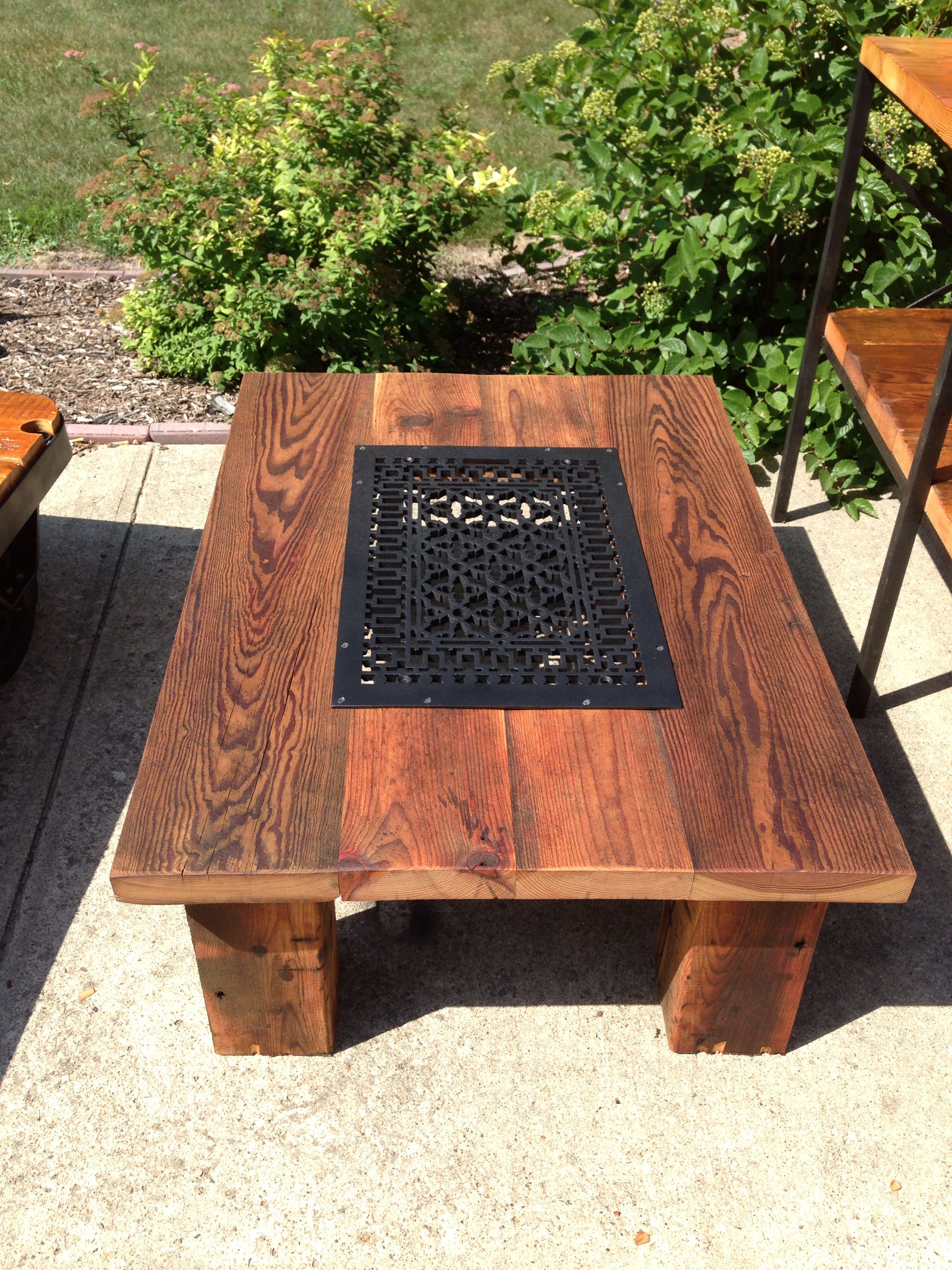 Large Cast Iron Floor Grate Repurposed In This Chunky Leg