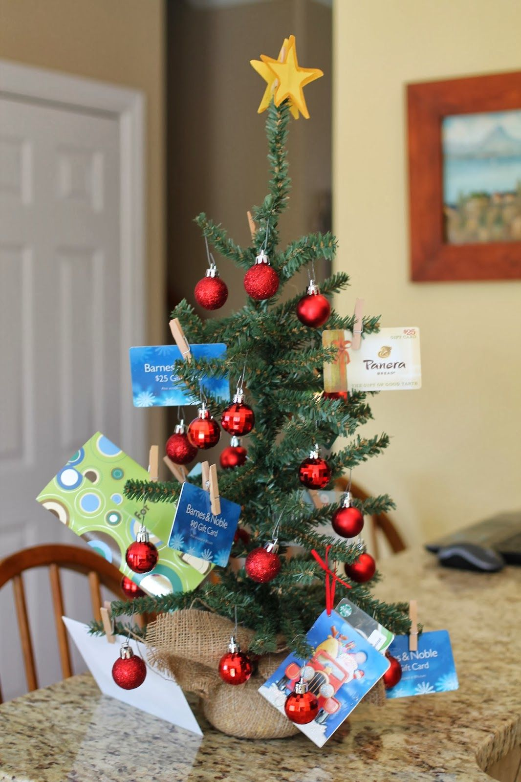 Gift Card Christmas Tree...thinking about this for our work Xmas ...