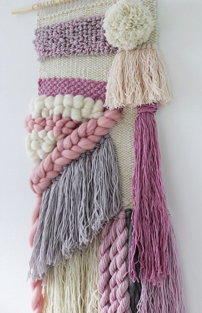 Woven wall hanging   Hand woven tapestry  Weaving wall art   Loom wall hanging   Nursery   Ivory, cream, blush, pink, grey   Twisted tassels by weavingmystory on Etsy https://www.etsy.com/listing/268142727/woven-wall-hanging-hand-woven-tapestry