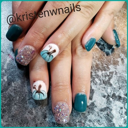 Teal pumpkins by KSWNails from Nail Art Gallery | Pumpkin ...