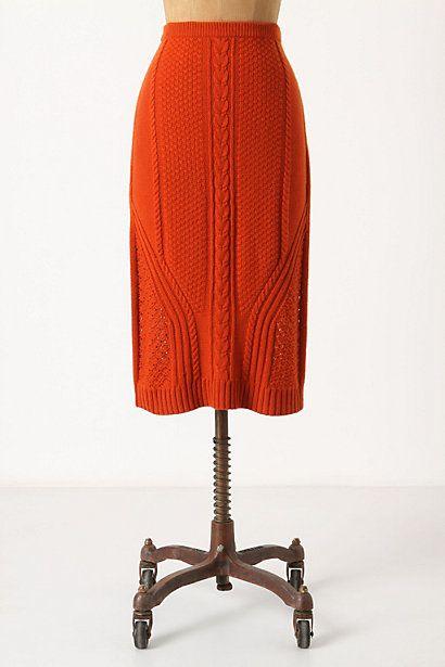 Anthropologie. Needled Paths Sweater Skirt. I love orange; I love sweater skirts! $98