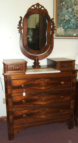 Details About Antique Dresser With Beveled Mirror