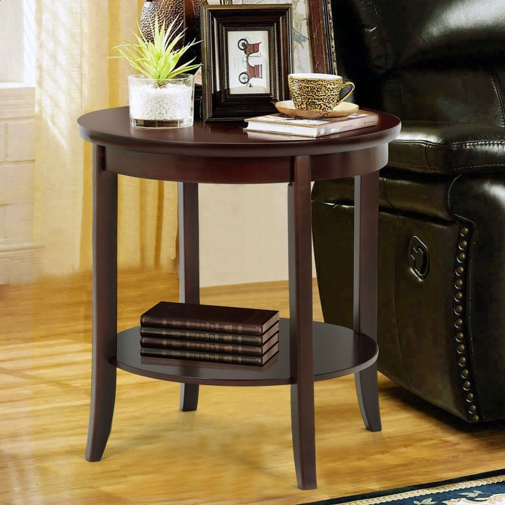 Small Wooden Coffee Table Living Room Furniture Round Storage