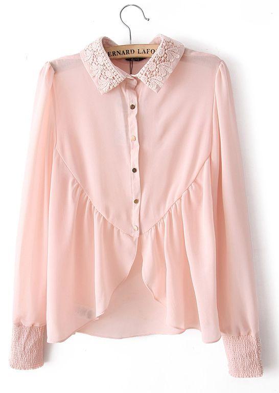 Pink Embroidery Lapel Long Sleeve Chiffon Blouse - Sheinside.com ...