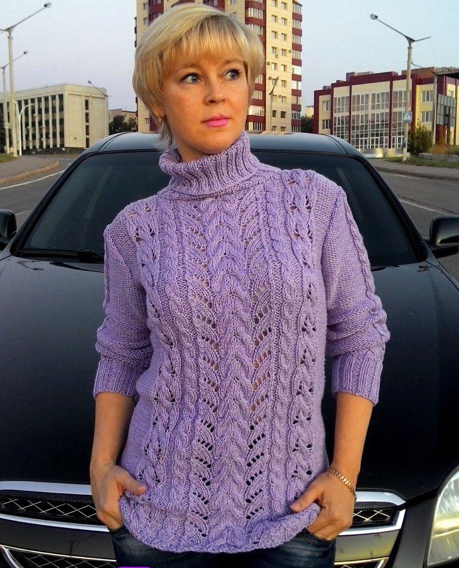 Pullover mit Ajour-Zopfmuster Größe: 38-40. https://strick-anleitung ...