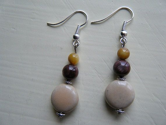 Dangle Clay and Stone Beaded Earrings by DarlingHodgepodge on Etsy, $2.20