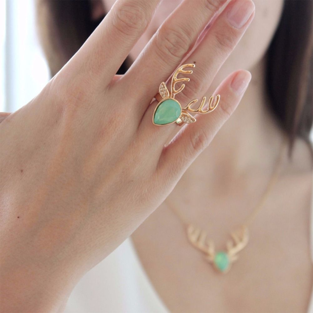Crystal deer ring colorful animal copper opening rings for women