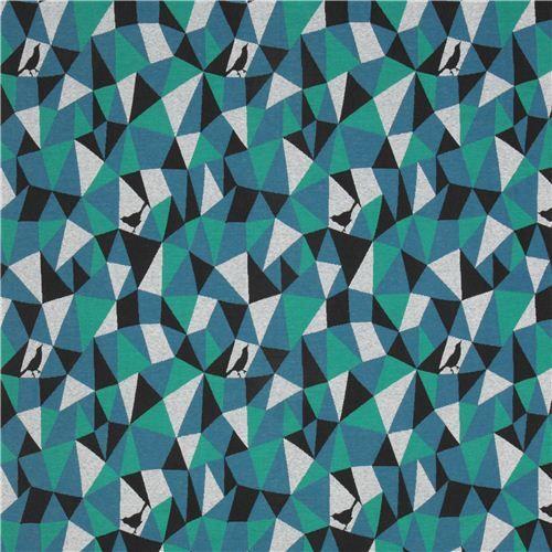 Tissu de créateur importé du Japon avec un motif tissé avec des triangles et rectangles avec des oiseaux