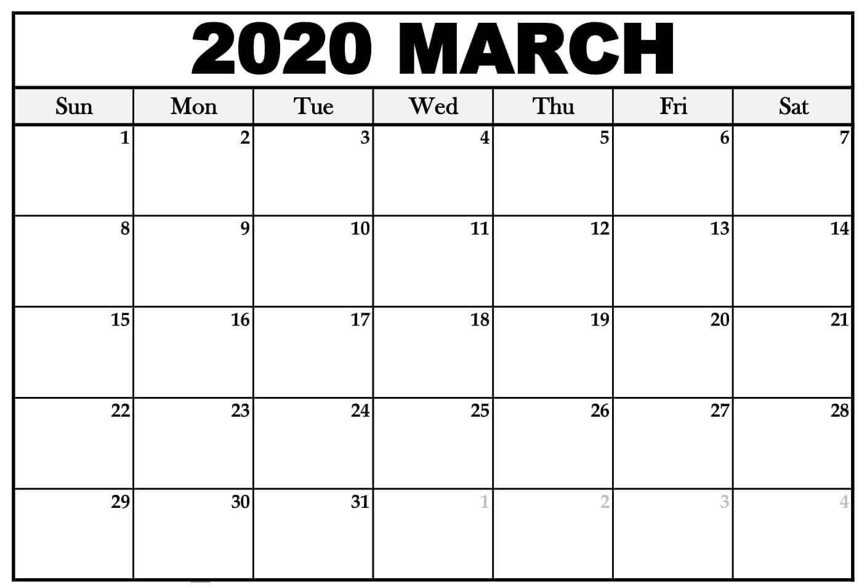 March 2020 Calendar Excel Sheet In 2020 Printable Calendar