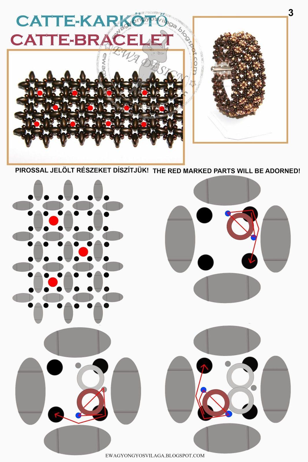 Ewa gyöngyös világa!: Catte karkötő minta / Catte bracelet pattern