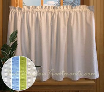Savannah Seerer Tier Curtains Available In 4 Colors Shown White Bathroom Or Kitchen Window Treatments Living Room