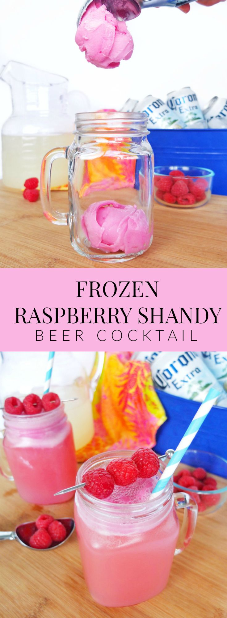 Msg 4 21+ This Frozen Raspberry Shandy beer cocktail featuring Corona Extra, raspberry sherbet, and lemonade is going to be your new goto cocktail to for a carefree summer. #ad #SummertimeCerveza // www.ElleTalk.com
