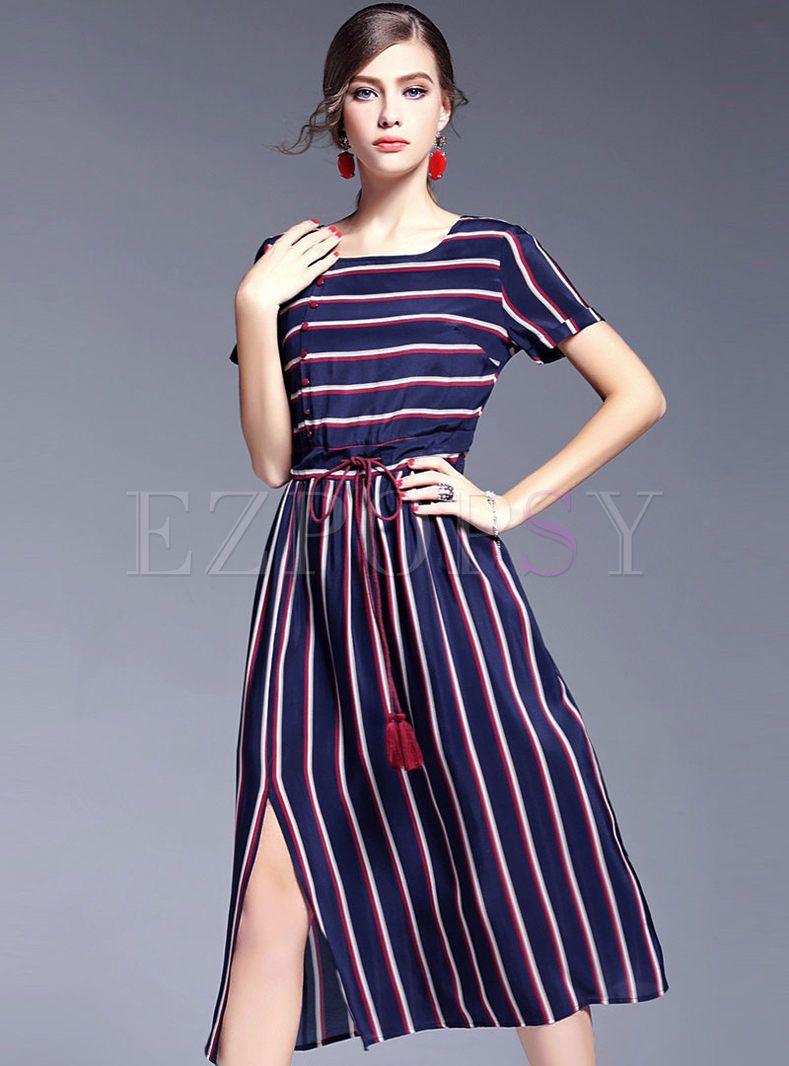 Classical Stripe Patch High Slit Dress | Vestido floreado y Vestiditos