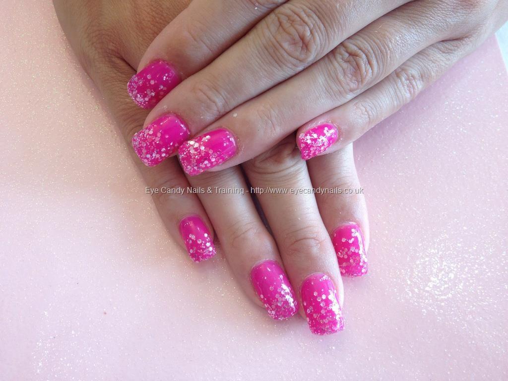 Acrylicnailswithpinkgelandglitterdust Nails Pinterest