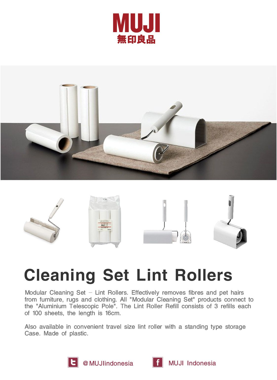 Muji Cleaning Set Lint Rollers Effectively Removes Fibers And Pet Hairs From Furniture Rugs And Clothing