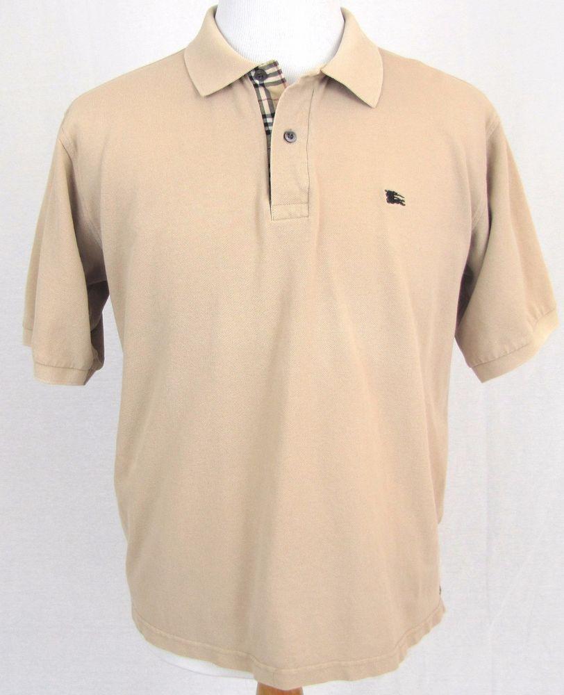 b7149d8b8 Burberry London Sport Shirt XL Polo Nova Check Plaid Beige 100% Cotton  Knight #BurberryLondon