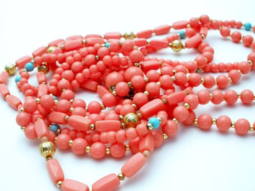 Orange-Blue-Bead-Necklace-Vintage-24-Multi-Strand-Coral-Turquoise-Lucite-Gold