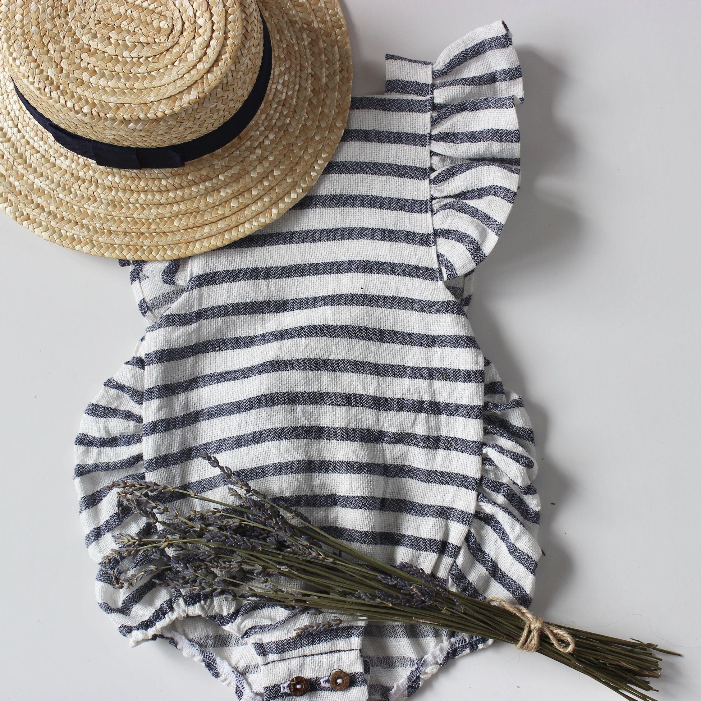 Lillie Romper – Irish Linen Stripe